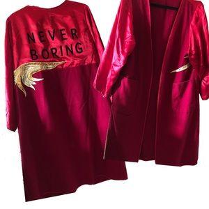 Vintage red silk kimono festival custom jacket